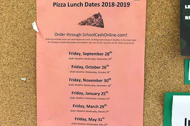 学校のピザランチプログラムの日程
