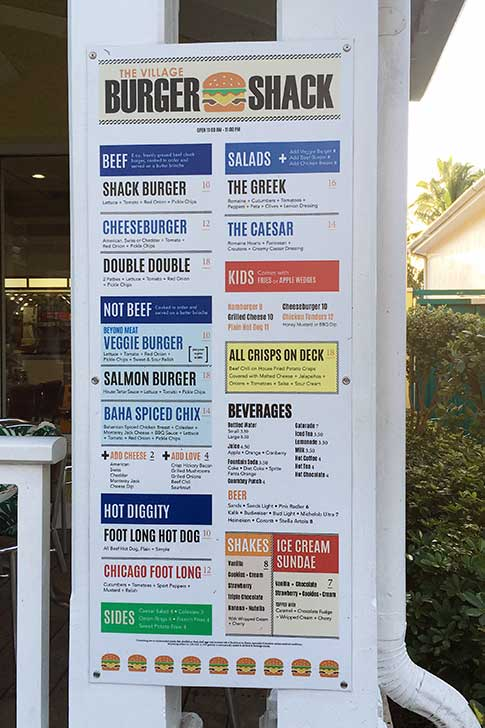 Atlantis Restaurant: Shack Burger Menu