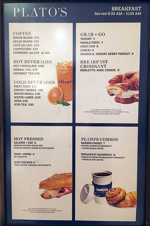 Atlantis Restaurant: Plato Cafe Menu
