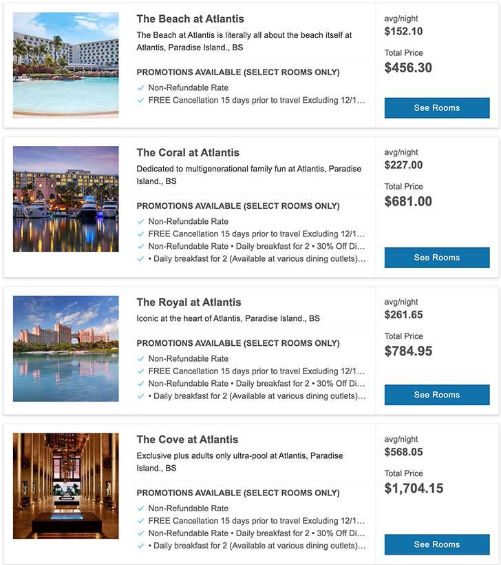 [バハマ]アトランティスホテルの値段比較